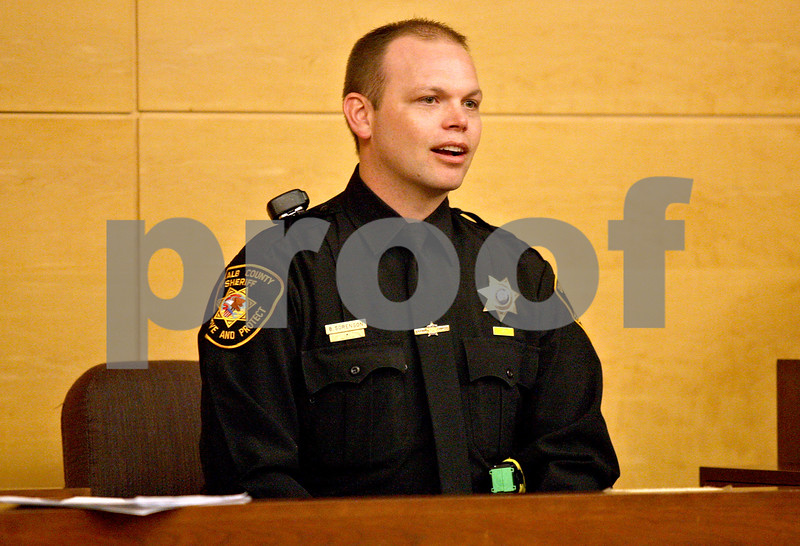 Monica Maschak - mmaschak@shawmedia.com<br /> Deputy Brad Sorenson, with the DeKalb County Sheriff's Office, testifies during a sentencing hearing for Benjamin Black at the Kane County Courthouse on Thursday, March 20, 2014. Black is convicted of aggravated driving under the influence in a 2013 crash that killed a Sycamore boy. The judge delayed the sentencing to March 26.
