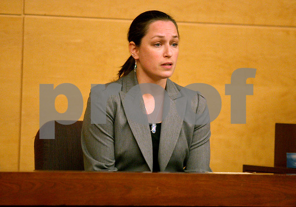 Monica Maschak - mmaschak@shawmedia.com<br /> Forensic Scientist Jennifer Bash, with the Illinois State Police, testifies during a sentencing hearing for Benjamin Black at the Kane County Courthouse on Thursday, March 20, 2014. Black is convicted of aggravated driving under the influence in a 2013 crash that killed a Sycamore boy. The judge delayed the sentencing to March 26.