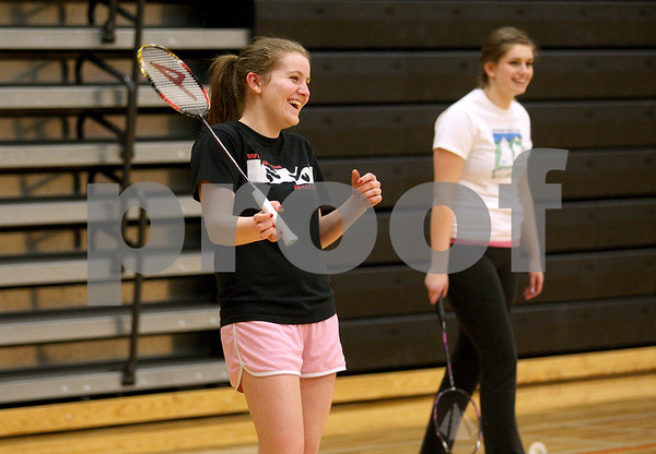 Monica Maschak - mmaschak@shawmedia.com<br /> DeKalb senior Tristan Draper laughs during badminton practice at DeKalb High School on Friday, March 21, 2014.