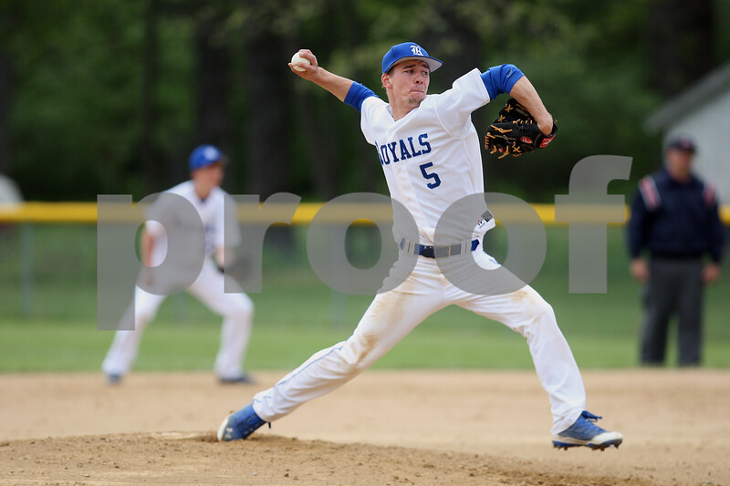 Monica Maschak - mmaschak@shawmedia.com<br /> Hinckley-Big Rock's Jacob Ryan winds up on a pitch in the second inning of the class 1A regional quarterfinal game against Elgin Academy on Monday, May 19, 2014. The Royals won, 17-7 in six innings.