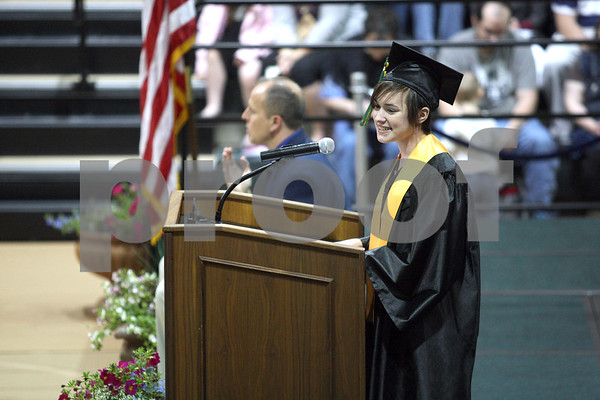 Monica Maschak - mmaschak@shawmedia.com<br /> Malta native Micayla Skonie addresses her graduating class at the Kishwaukee College graduation ceremony on Saturday, May 17, 2014.