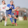 Monica Maschak - mmaschak@shawmedia.com<br /> Indian Creek's Madison Russell and Genoa-Kingston's Morgana Gandsey vie for the ball in the second half of the class 3A regional game on Saturday, May 17, 2014. The Cogs lost to the T'Wolves, 1-0.