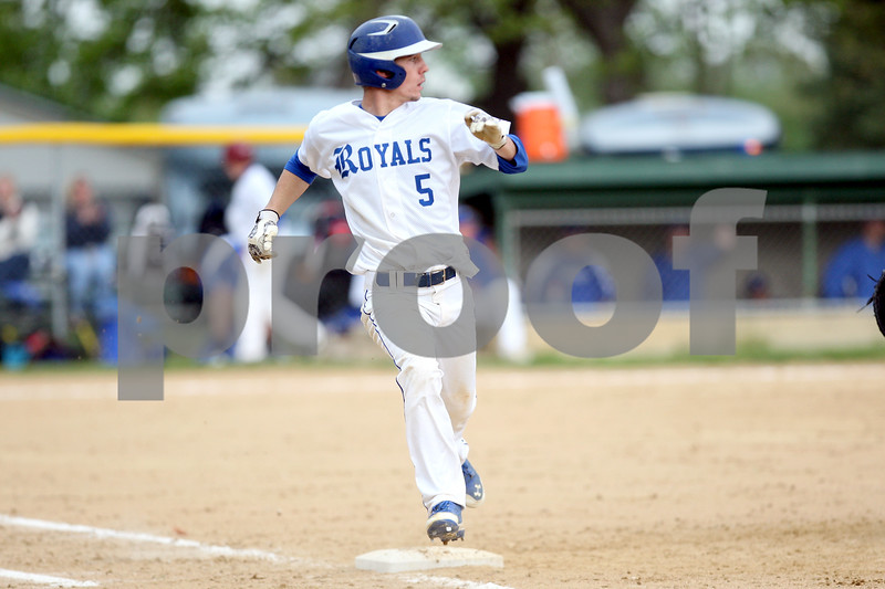 Monica Maschak - mmaschak@shawmedia.com<br /> Hinckley-Big Rock's Jacob Ryan gets to first base in the third inning of the class 1A regional quarterfinal game against Elgin Academy on Monday, May 19, 2014. The Royals won, 17-7 in six innings.