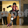 "Danielle Guerra - dguerra@shawmedia.com<br /> Barbed Wire Betties' Katherine Keyes, ""Skeleton Keyes,"" takes off after becoming lead jammer during the Barbed Wire Betties' first home bout at Huntley Middle School in DeKalb against the DuPage Derby Dames on Saturday, November 8, 2014.  The Betties beat the Dames, 161-133."