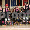Danielle Guerra - dguerra@shawmedia.com<br /> The Barbed Wire Betties warm-up before taking on the DuPage Derby Dames in front of a crowd of over 400 fans during the Betties' first home bout at Huntley Middle School in DeKalb on Saturday, November 8, 2014.  The Betties beat the Dames, 161-133.