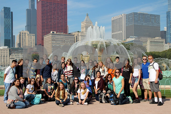 Provided Photo<br /> DeKalb High School students with the Spanish students at the Buckingham Fountain in Downtown Chicago.