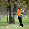 Sandy Bressner - sbressner@shawmedia.com<br /> Maggie Russell of DeKalb tees off during the Class AA Conant Girls Golf Sectional at the Fox Grove Golf Links in Elk Grove Village on Monday, October 13, 2014.