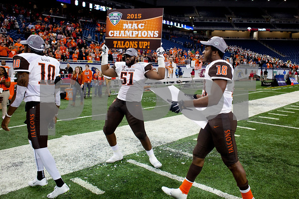 Laura McDermott for Shaw Media          <br /> Bowling Green University senior defensive lineman Malik Brown dances and celebrates after beating Northern Illinois University 34-14 in the 2015 MAC Championship Game at Ford Field in Detroit, Mich. on Dec. 4, 2015.