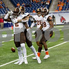 Laura McDermott for Shaw Media      <br /> Bowling Green University players celebrate scoring agains t Northern Illinois University during the 2015 MAC Championship Game at Ford Field in Detroit, Mich. on Dec. 4, 2015. Bowling Green University beat Northern Illinois University 34-14.