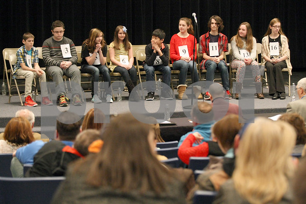 Monica Synett - msynett@shawmedia.com<br /> Nine contestants were left after five rounds during the annual DeKalb County Spelling Bee at Kishwaukee College in Malta on Saturday, March 7, 2015.