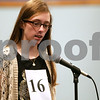 Monica Synett - msynett@shawmedia.com<br /> Jessica Aubart, 12, of Somonauk Middle School in Somonauk, spells a word in the seventh round of the annual DeKalb County Spelling Bee at Kishwaukee College in Malta on Saturday, March 7, 2015. Aubart is the runner-up to spelling bee champion Nolan Bunger of DeKalb.