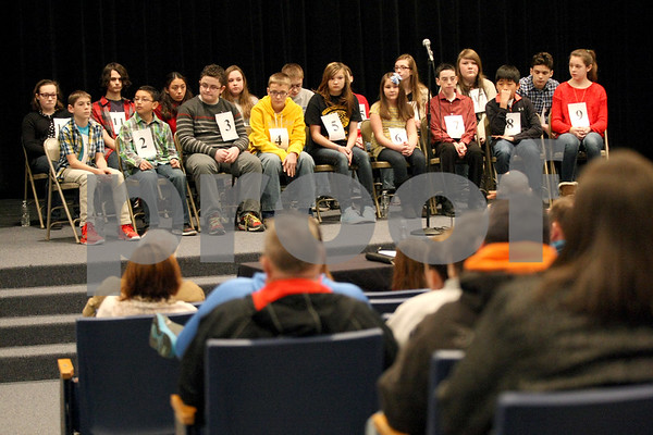Monica Synett - msynett@shawmedia.com<br /> Eighteen contestants from the region prepare to compete in the annual DeKalb County Spelling Bee at Kishwaukee College in Malta on Saturday, March 7, 2015.