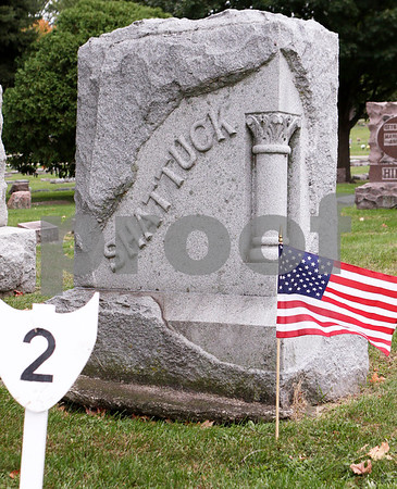Sam Buckner for Shaw Media<br /> Gravesite of Orville Shattuck and the second stop on the Elmwood Cemetery Heritage Walk on Sunday, October 4, 2015. Shattuck was known as one of the oldest residents in Sycamore, passing away in 1904.