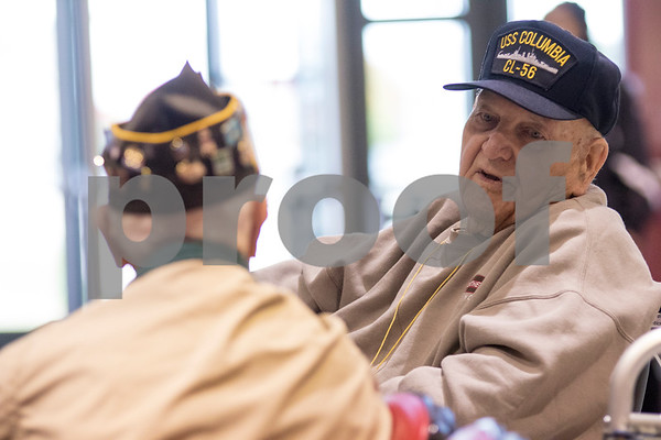 Sam Buckner for Shaw Media<br /> WWII veterans Albert Riippi (right) and Donald Schoo talk before the ceremony on Friday, October 9, 2015.