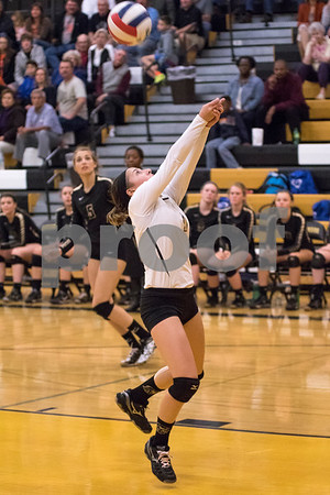 Sam Buckner for Shaw Media<br /> Isabel Dobbel hits the ball in the third game agaist DeKalb on Tuesday October 20, 2015. Dekalb won the series 2-1