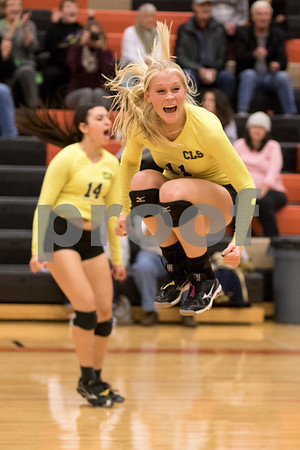 Sam Buckner for Shaw Media<br /> Hannah Koeing celebrates after winning the regional championship match against DeKalb on October 29, 2015. The Gators won the series 2-1.