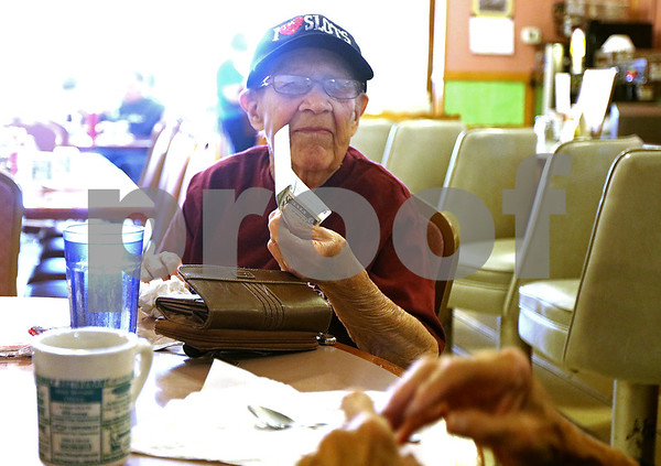 Monica Synett - msynett@shawmedia.com<br /> Irene Clay enjoys her weekly lunch at Kirkland Family Restaurant with a close friend on Monday, July 13, 2015. Irene died on Tuesday, September 15th at the age of 87 from lung cancer that spread to her brain only weeks after stopping chemotherapy.