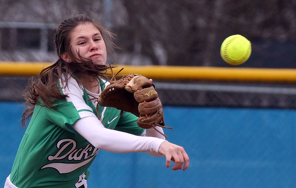 York shortstop Katherine Karnatz throws out a runner during a game at Geneva on March 28.