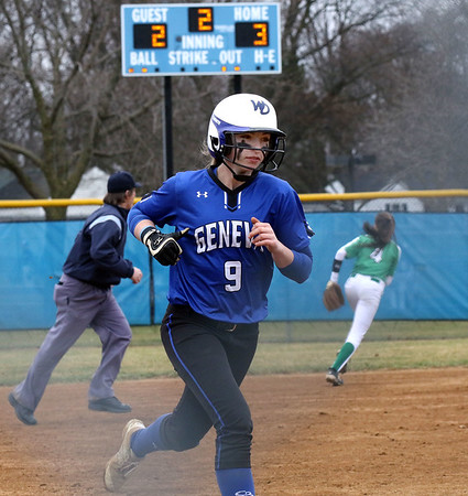 Geneva's Katie Keller heads for home to give the Vikings a 4-2 lead in the second inning of a game against visiting York on March 28.