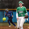 York's Lauren Wojcik pitches during a game at Geneva on March 28.
