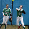 York left fielder Jane Moran (#6) throws the ball toward second base during a game at Geneva on March 28.