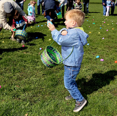 Percy White, 2, of Sugar Grove shows off an egg he found during the Elburn Lions Club Easter Egg Hunt that was held on April 8 in Elburn.