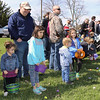 Jamie White and his two sets of twins; (l-r) Macy, 2, Oakley, 6, Percy, 2, and Avery, 6, wait for the Elburn Lions Club Easter Egg Hunt to begin on April 8.
