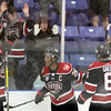 Chicago Steel's Marc Johnstone (#26) celebrates his third period goal during game one of the USHL's Western Conference semifinal against Youngstown at the Fox Valley Ice Arena. The Steel won 4-1.