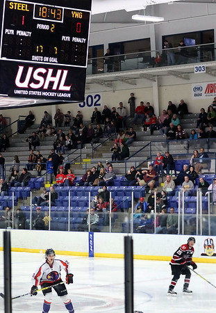 Chicago Steel hockey fans watch game one of the USHL's Western Conference semifinal against Youngstown at the Fox Valley Ice Arena. The Steel won 4-1.