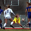 Lyons goal keeper Claire Purcell makes a save during a game against St. Charles North at Batavia High School on April 13.
