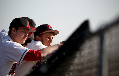 Jenny Kane - jkane@shawmedia.com Huntley's Brandon King, (right) and Bryan Doherty, (left) watch their team take to bat against Boylan during the second inning. Huntley lost to Boylan 7-0 during their non-conference matchup.