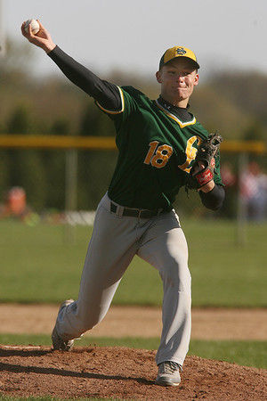 Mike Greene - mgreene@shawmedia.com Crystal Lake South's Jordan Van Dyck (cq) pitches during a game against Marian Central Wednesday, April 4, 2012 in Woodstock. Van Dyck pitched six innings giving up one run in the Gators' 7-1 defeat of the Hurricanes.
