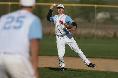 Mike Greene - mgreene@shawmedia.com Marian Central's Lincoln Herendeen throws to first baseman Scott Taylor during a game against Crystal Lake South Wednesday, April 4, 2012 in Woodstock. Marian Central lost to Crystal Lake South 7-1.