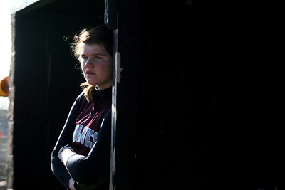 Jenny Kane - jkane@shawmedia.com Wed. April 11, 2012, Prairie Ridge's Maddie Drain waits in the dugout while her team warms up at bat during during their FVC Valley Division matchup against Huntley.