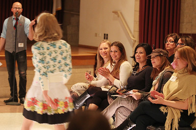 Mike Greene - mgreene@shawmedia.com Guests at 'Shabby Chic' react to an outfit during an event held by the McHenry County Chamber of Commerce at The Lakemoor Friday, April 13, 2012 in Lakemoor. The event included an evening of shopping as well as prizes for guests.
