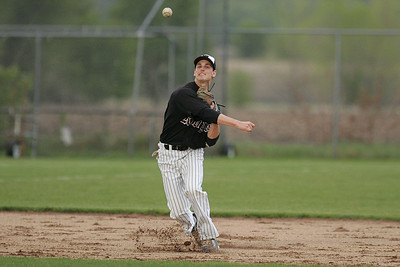 Mike Greene - mgreene@shawmedia.com Prairie Ridge's Connor Perry throws to first base during a game against Marian Central Wednesday, April 18, 2012 in Woodstock. Marian Central won the gam 7-6.