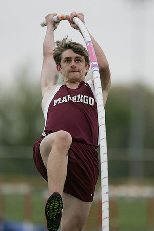 Mike Greene - mgreene@shawmedia.com Marengo's Mike Zaranski competes in the pole vault event during the McHenry County Track & Field Meet Thursday, April 19, 2012 in Crystal Lake.
