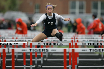 Mike Greene - mgreene@shawmedia.com Cary-Grove's Megan Jacquier competes in the third heat of the girls 100  meter hurdles semi-finals during the McHenry County Track & Field Meet Thursday, April 19, 2012 in Crystal Lake.