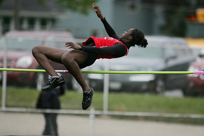Mike Greene - mgreene@shawmedia.com Huntley's Omo Tseumah during the McHenry County Track & Field Meet Thursday, April 19, 2012 in Crystal Lake.