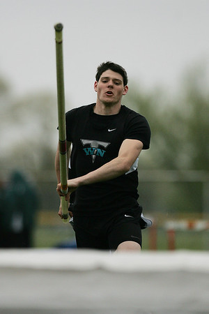 Mike Greene - mgreene@shawmedia.com Woodstock North's Jon Walsh competes in the pole vault event during the McHenry County Track & Field Meet Thursday, April 19, 2012 in Crystal Lake.