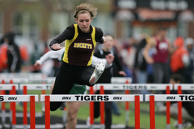 Mike Greene - mgreene@shawmedia.com Richmond-Burton's Talia Sheedlo jumps while racing in the second heat of the girls 100 meter hurdles semi-finals during the McHenry County Track & Field Meet Thursday, April 19, 2012 in Crystal Lake.