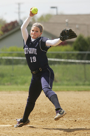 Mike Greene - mgreene@shawmedia.com Cary-Grove's Lauren Stanley pitches against Belvidere North during the Woodstock Softball Invitational Saturday, April 21, 2012 in Woodstock. Cary-Grove won the game 13-5.