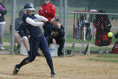 Mike Greene - mgreene@shawmedia.com Cary-Grove's Sara Markelonis hits a pitch while playing against Belvidere North during the Woodstock Softball Invitational Saturday, April 21, 2012 in Woodstock. Markelonis went 1-3 in the game, knocking in two runs and scoring one run.