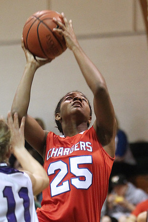 Mike Greene - mgreene@shawmedia.com Dundee-Crown's Diamond Williams takes a shot near the basket during the McHenry County Area Girls All-Star game Sunday, April 22, 2012 in Hebron.