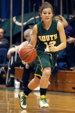 Mike Greene - mgreene@shawmedia.com Crystal Lake South's Stephanie Melone dribbles the ball down the court during the McHenry County Area Girls All-Star game Sunday, April 22, 2012 in Hebron.