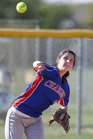 Mike Greene - mgreene@shawmedia.com Dundee-Crown's Mallory Schilf throws towards first base while playing a game against Jacobs Monday, April 23, 2012 in Algonquin. Jacobs won the game 7-2.
