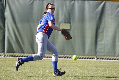 Mike Greene - mgreene@shawmedia.com Dundee-Crown's Abby Perillo tries to cut a ball off in the gap during a game against Jacobs Monday, April 23, 2012 in Algonquin. Jacobs won the game 7-2.