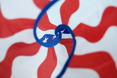 Mike Greene - mgreene@shawmedia.com A Patriotic Duet Spinner is displayed at Aerial Stunt Kites LLC Tuesday, April 24, 2012 in Lake Geneva. Aerial Stunt Kites LLC offers customers a variety of kites as well as games and toys for ages six and up.