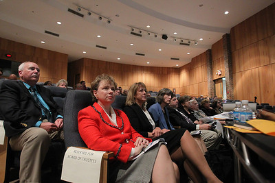 Daniel J. Murphy - dmurphy@shawmedia.com  McHenry County College President Vicky Smith (front) and Board of Trustee members listen to a presentation by Wight & Company Thursday April 26, 2012 at McHenry Country College in Crystal Lake. Wight representatives presented the college's potential master plan for the expansion of the Crystal Lake campus.