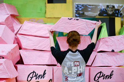 Daniel J. Murphy - dmurphy@shawmedia.com  Student teacher Meg Ryan stacks a giant papier-mâché eraser in the gym Saturday April 28, 2012 at Leggee Elementary School in Huntley. On Monday and Tuesday nights next week, Leggee Elementary School will host its annual art show that will feature over 4,000 pieces of artwork created by student artists in Kindergarten through fifth grade.